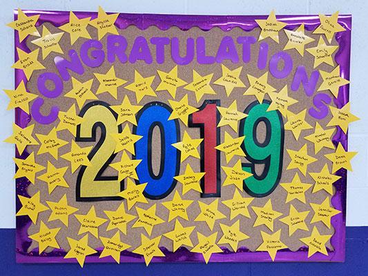 class of 2019 bulletin board
