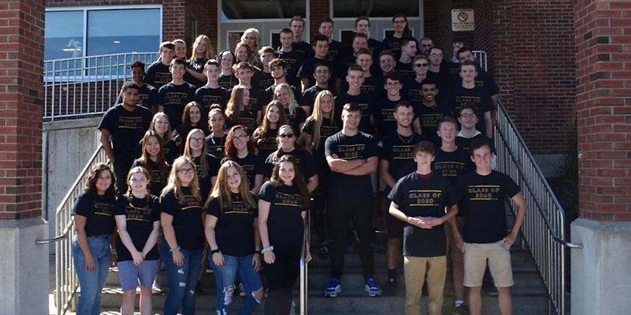 Duanesburg Class of 2020 poses in front of HS