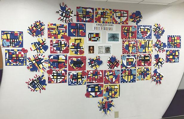 Bulletin board artwork inspired by Piet Mondrian