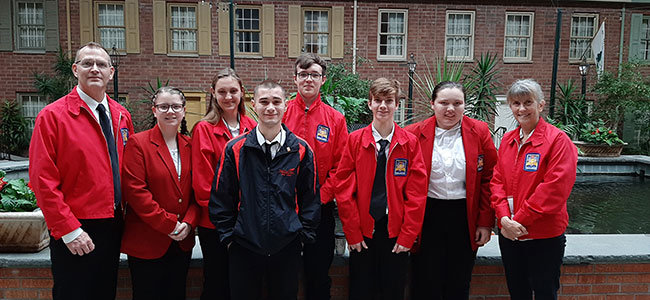 Students wearing SkillsUSA red blazers at Desmond