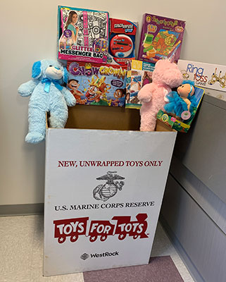 Toys for Tots dropbox with toys