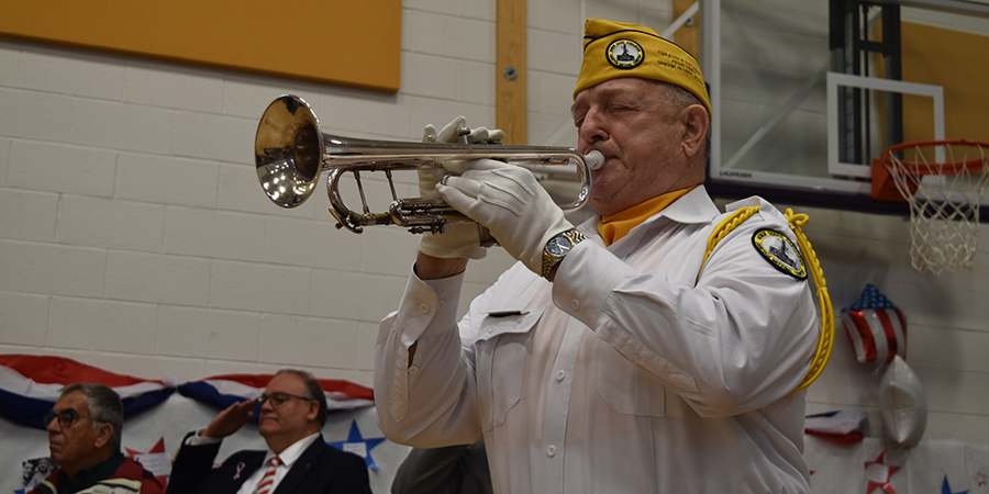 veteran playing bugle