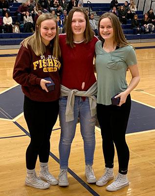 Taylor Meyer, Allison O'Hanlon, Madison Meyer standing together,