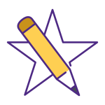 icon with a star and pencil