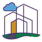 icon of a building with grass and a cloud