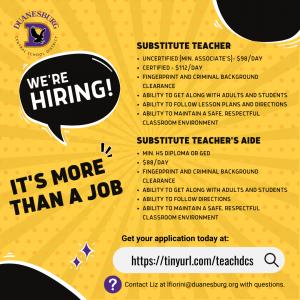 Duanesburg is hiring - substitute teachers and substitute teacher aides 2021